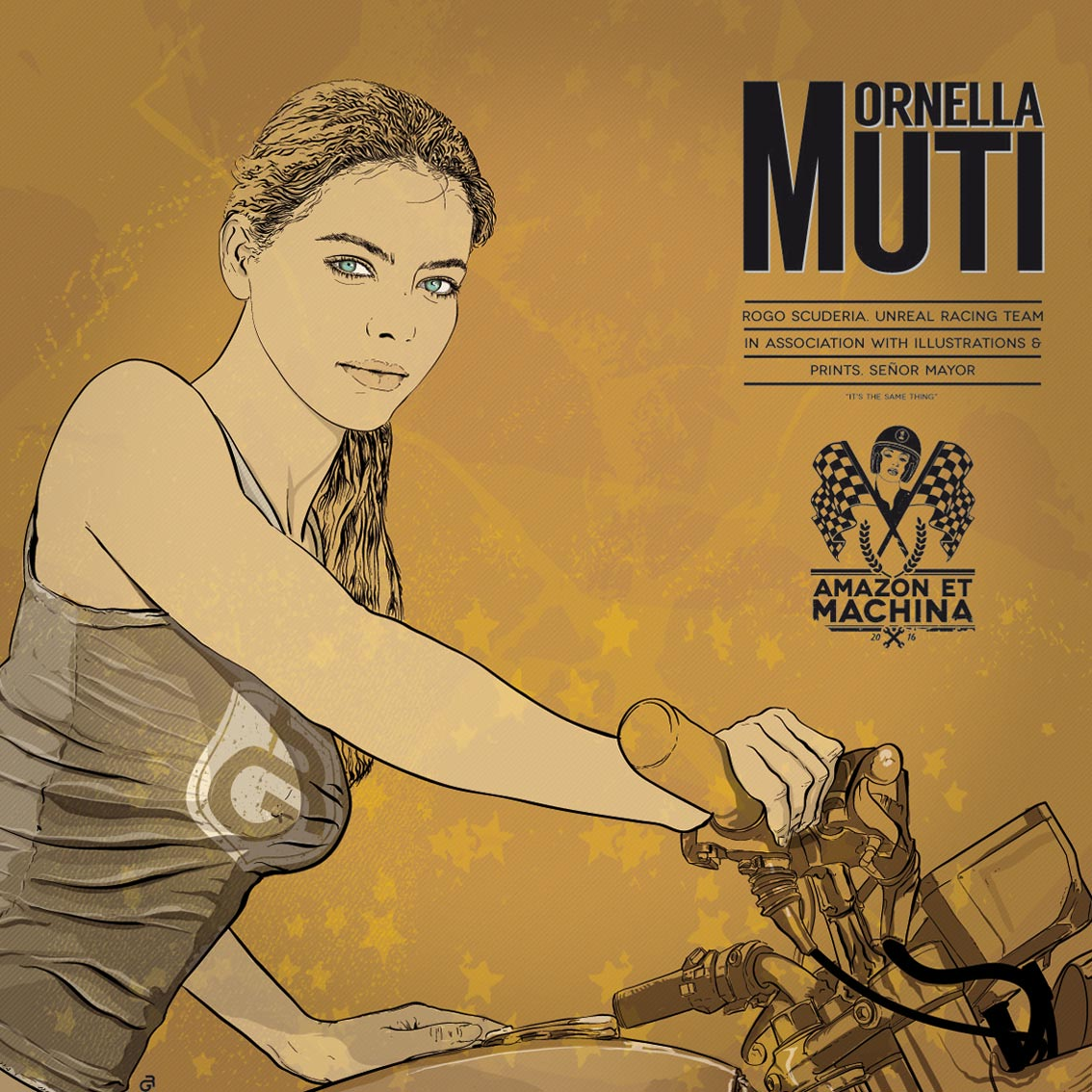 Ornella y su Benelli 750 Sei. Amazon et machina