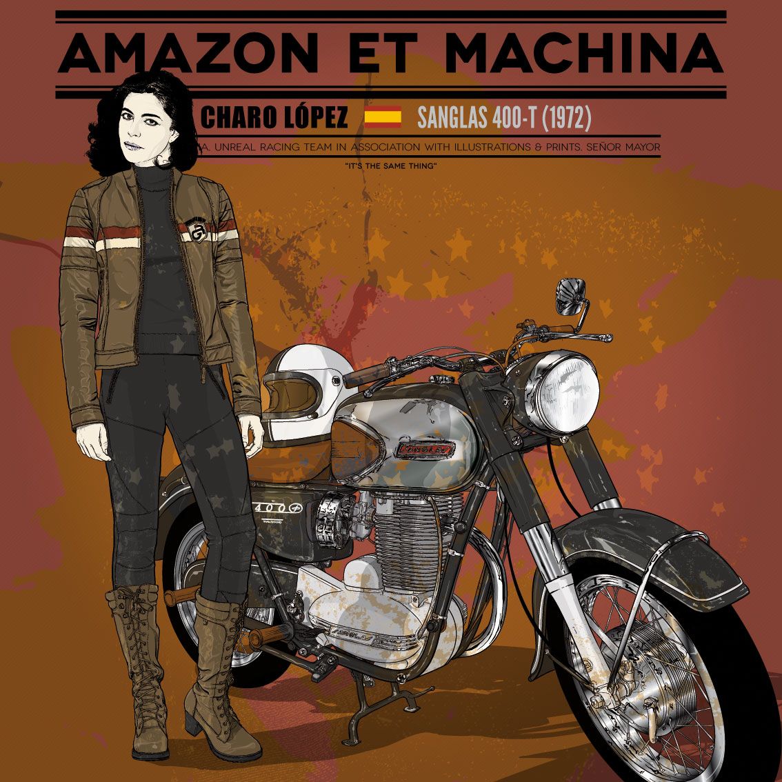 Charo y su Sanglas 400-T. Amazon et Machina