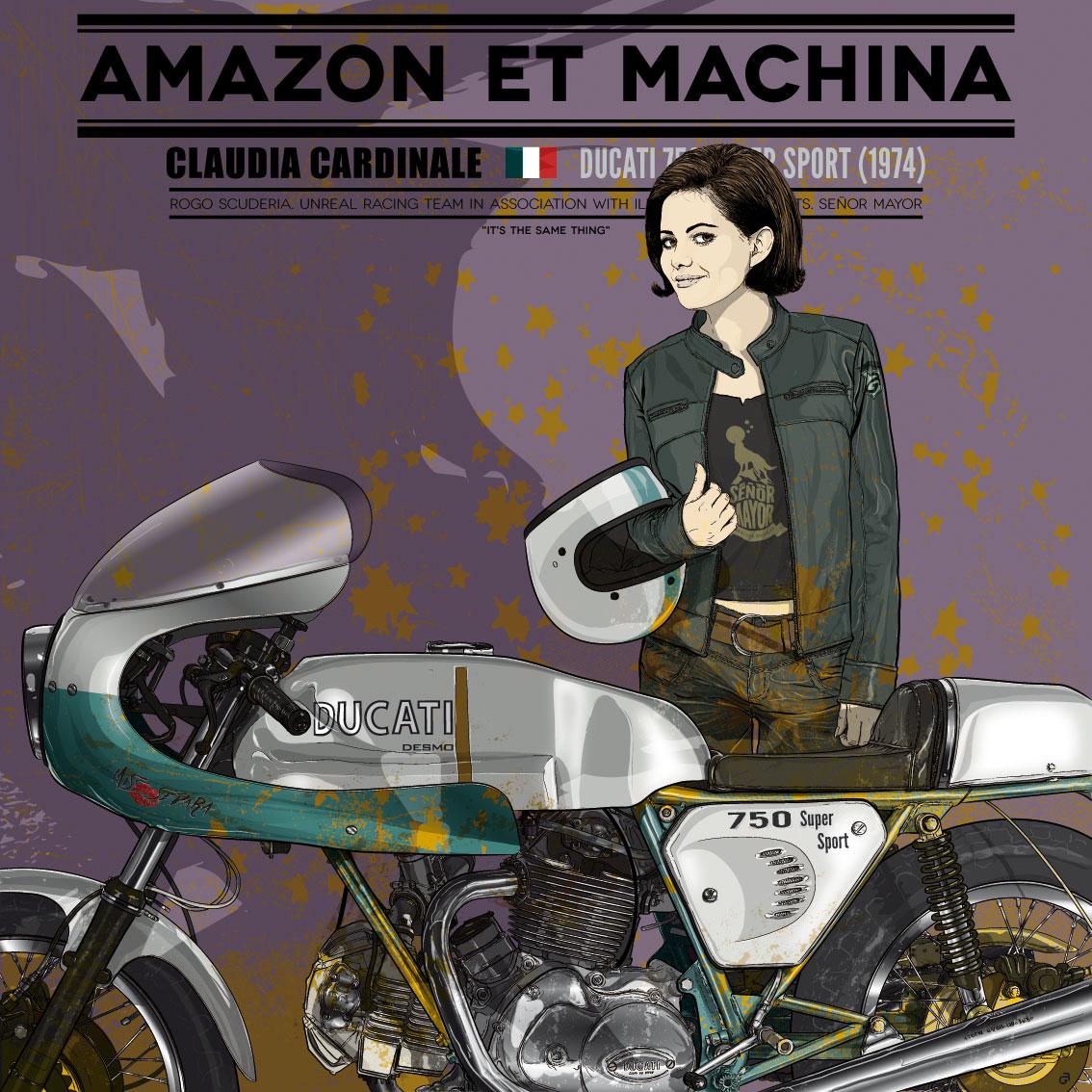 Claudia y su Ducati 750. Amazon et Machina