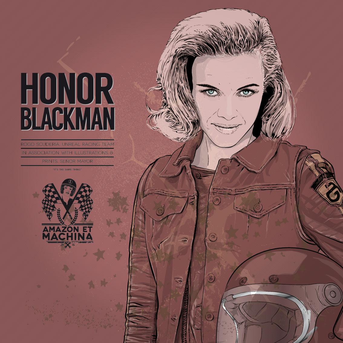 Honor y su Vincent Black Shadow. Retrato Amazon et machina