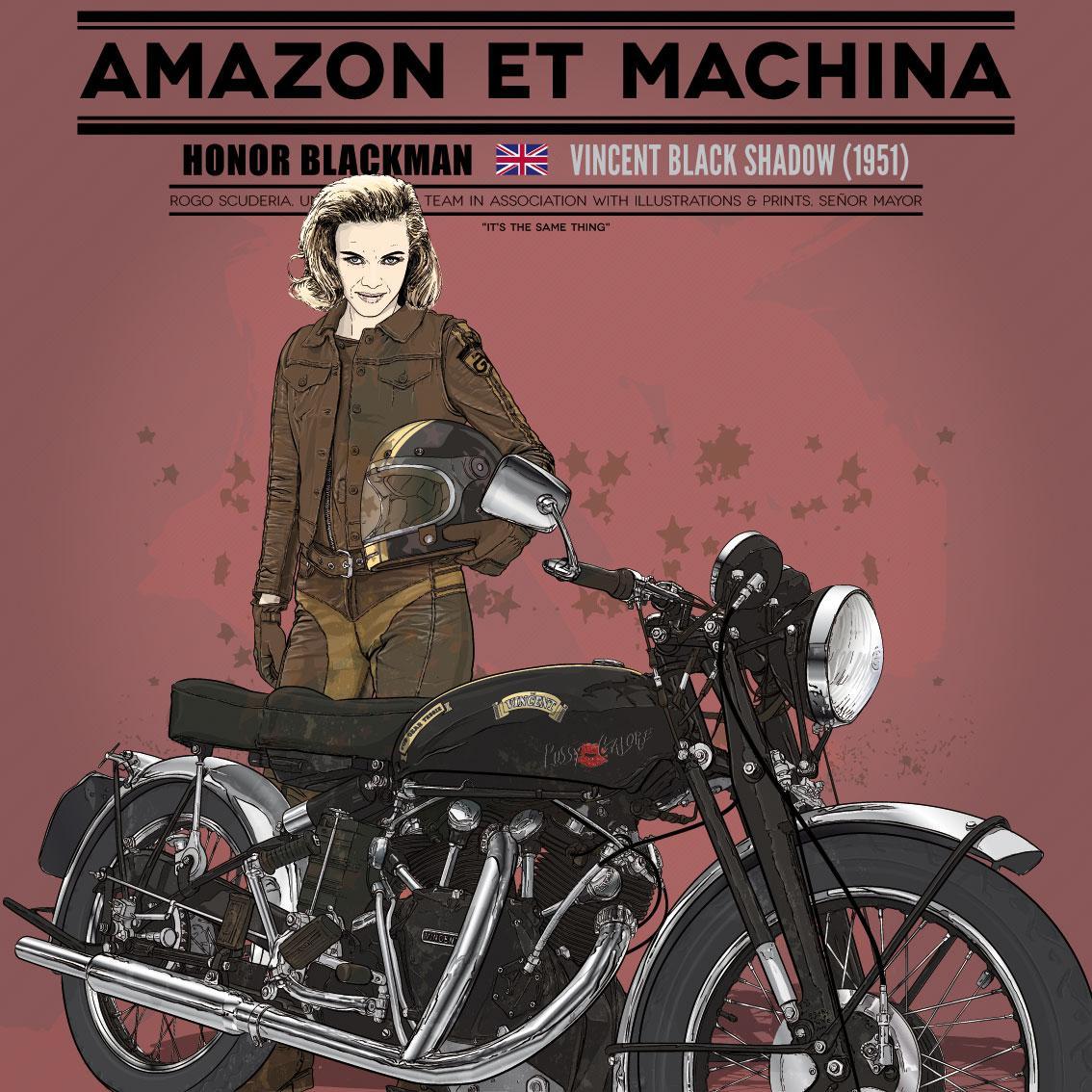 Honor y su Vincent Black Shadow. Amazon et machina