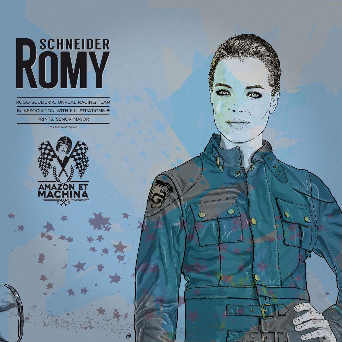 Romy y su BMW. Retrato Amazon et machina