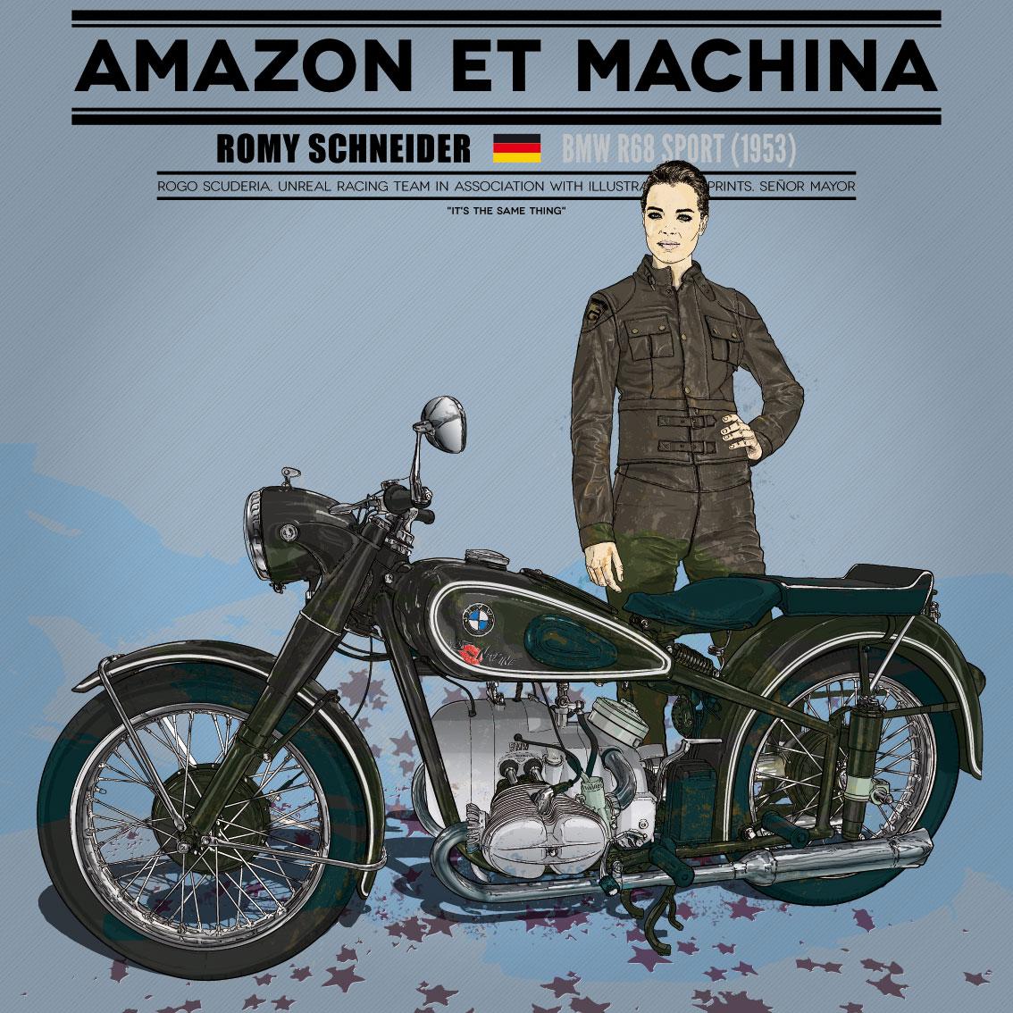 Romy y su BMW. Amazon et machina
