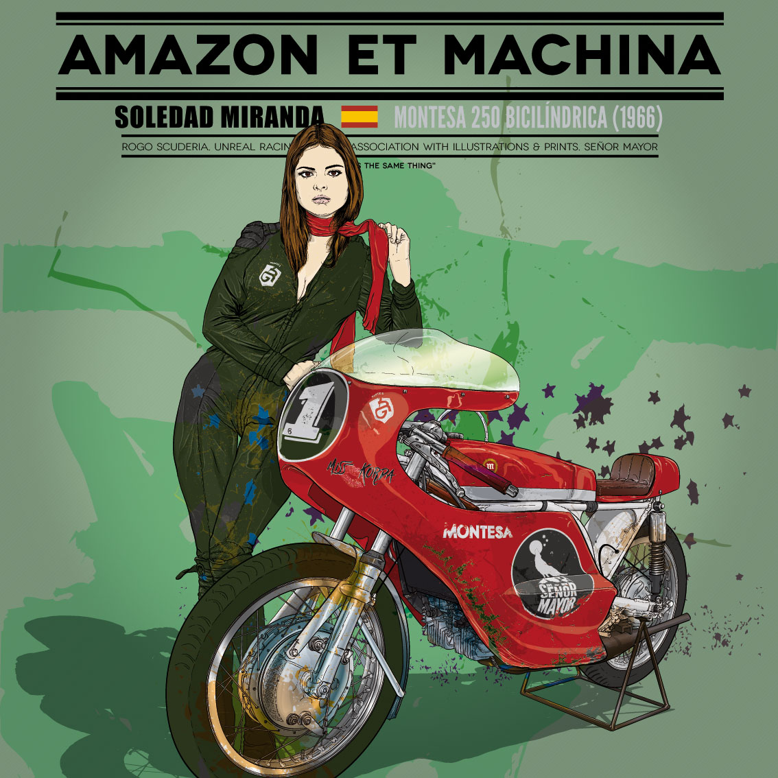 Soledad y su Montesa 250. Amazon et Machina