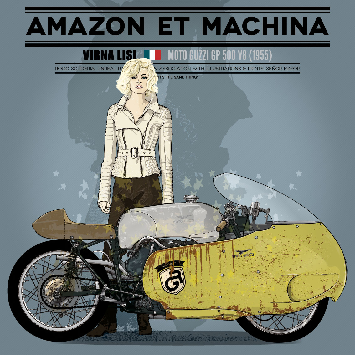 Virna y su Moto Guzzi. Amazona y máquina