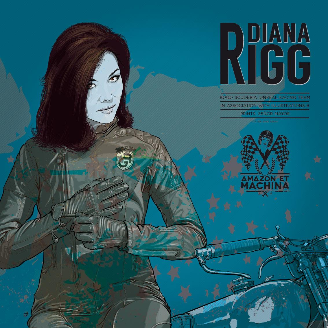 Diana Rigg y su Brough Superior SS100. Retrato